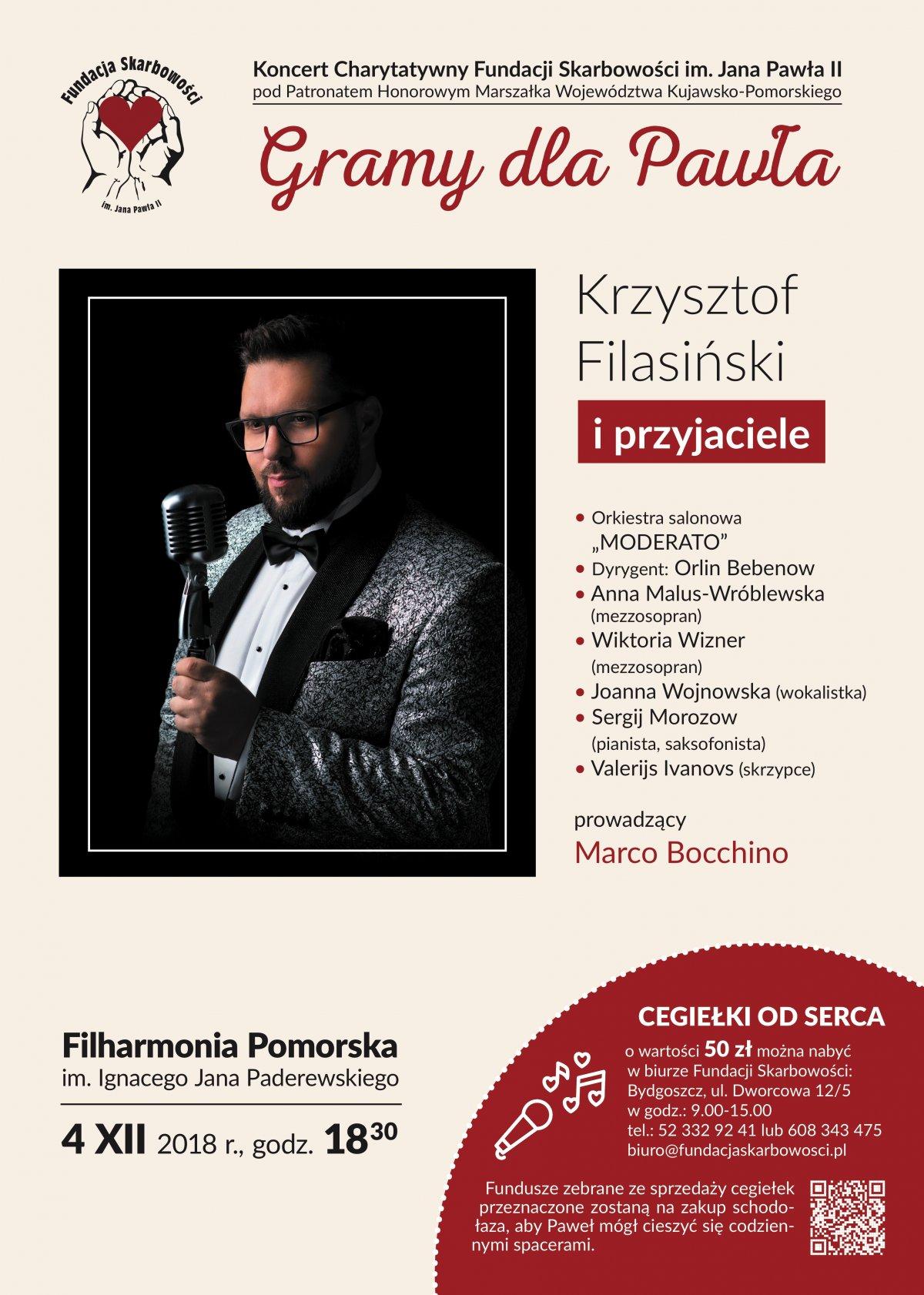 """4 grudnia 2018, Filharmonia Pomorska w Bydgoszczy Koncert Charytatywny FS """"GRAMY DLA PAWŁA"""""""