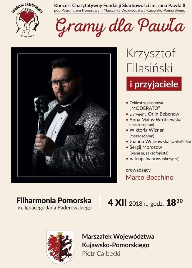 """TRANSMISJA NA ŻYWO na FB z Koncertu Charytatywnego """"Gramy dla Pawła"""", 4 grudnia, Filharmonia Pomorska"""