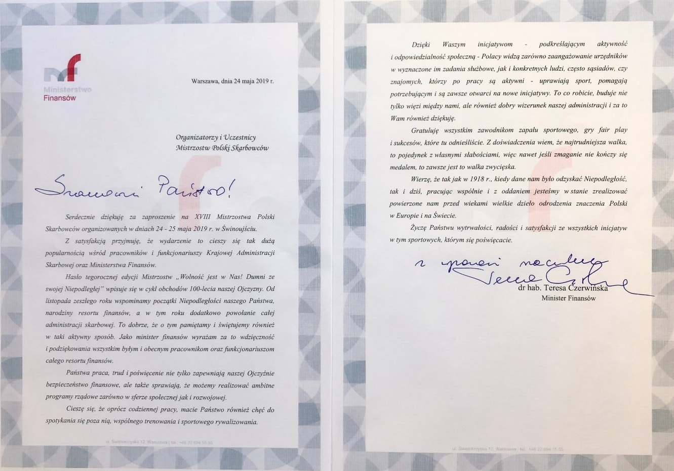 List Ministra Finansów Pani Teresy Czerwińskiej do Organizatorów oraz Uczestników XVIII MPS, Świnoujście 2019