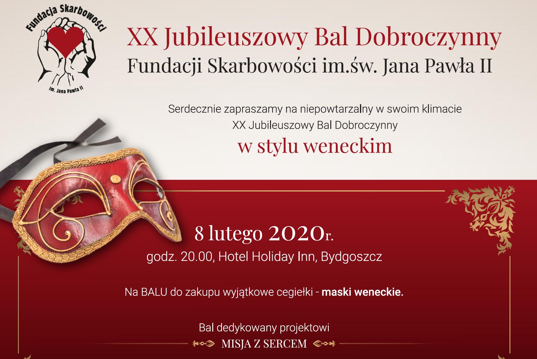 Zapraszamy na niepowtarzalny w swoim klimacie XX Jubileuszowy Bal Fundacji Skarbowości!  8 lutego 2020r