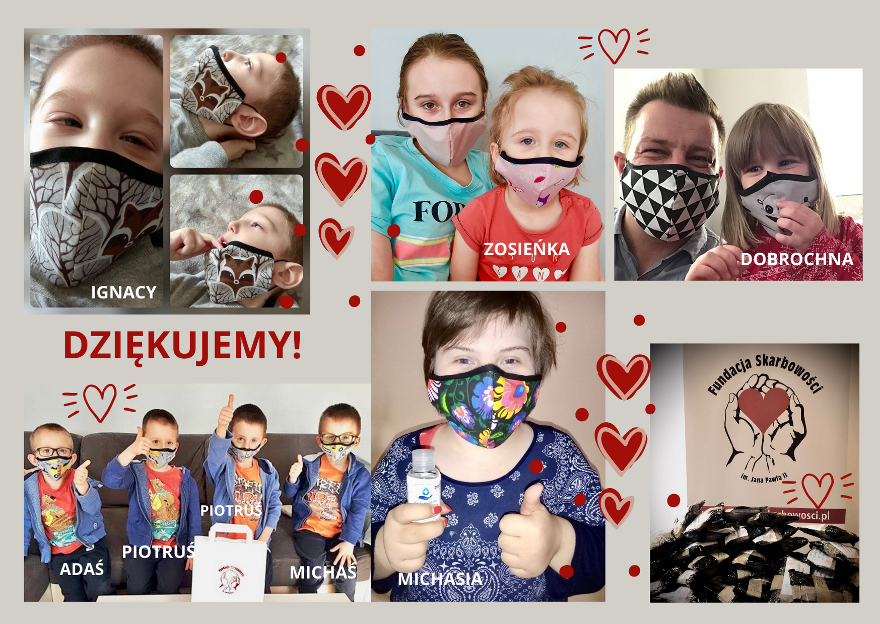 Już ponad 9 tys. zł na maski, żele i przyłbice dla Podopiecznych Fundacji! Dziękujemy!