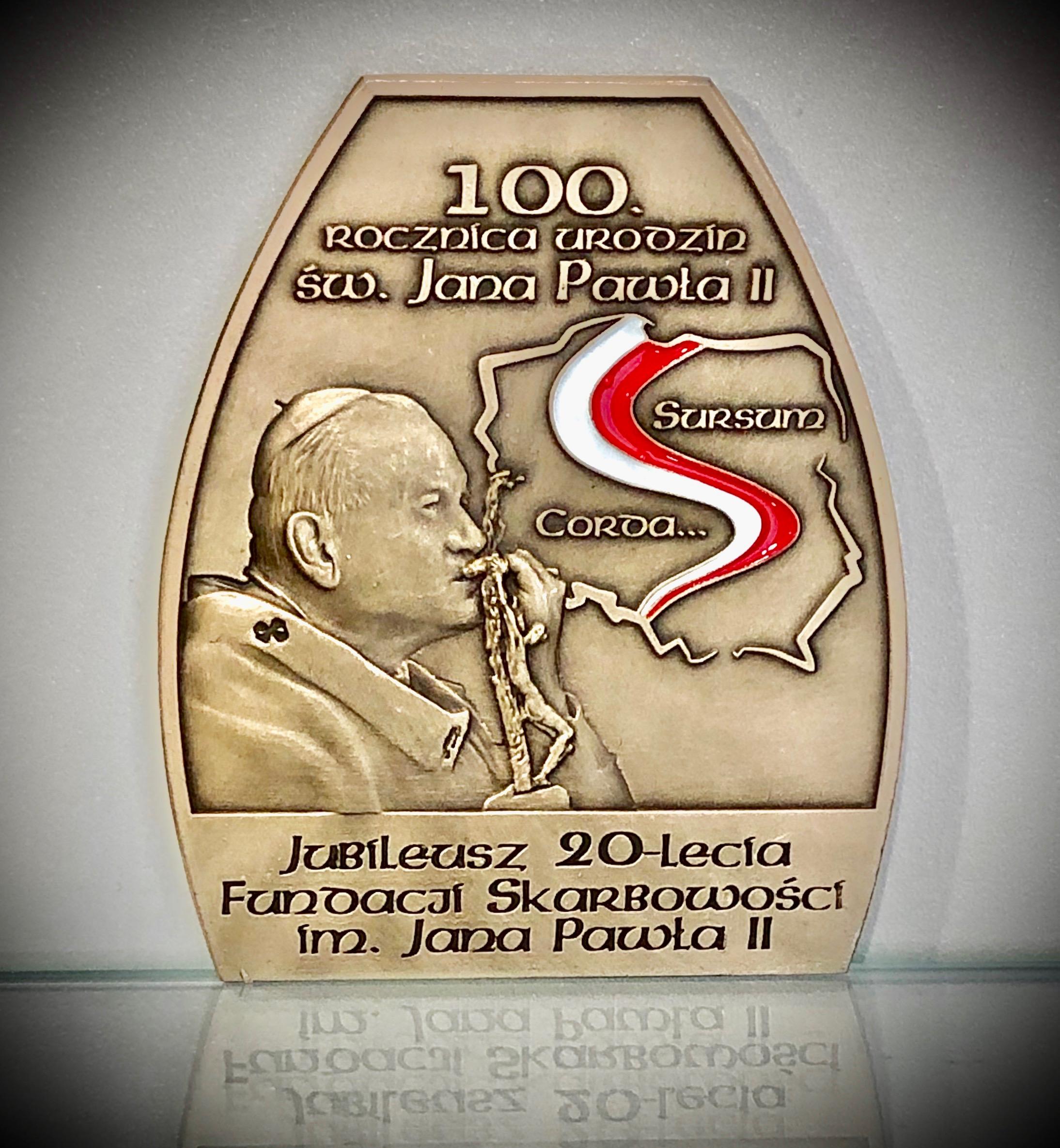 """Kup cegiełkę –  Medal """"Sursum Corda"""" upamietniający 100.rocznicę urodzin św. Jana Pawła II i buduj z nami """"cywilizację miłości…"""""""