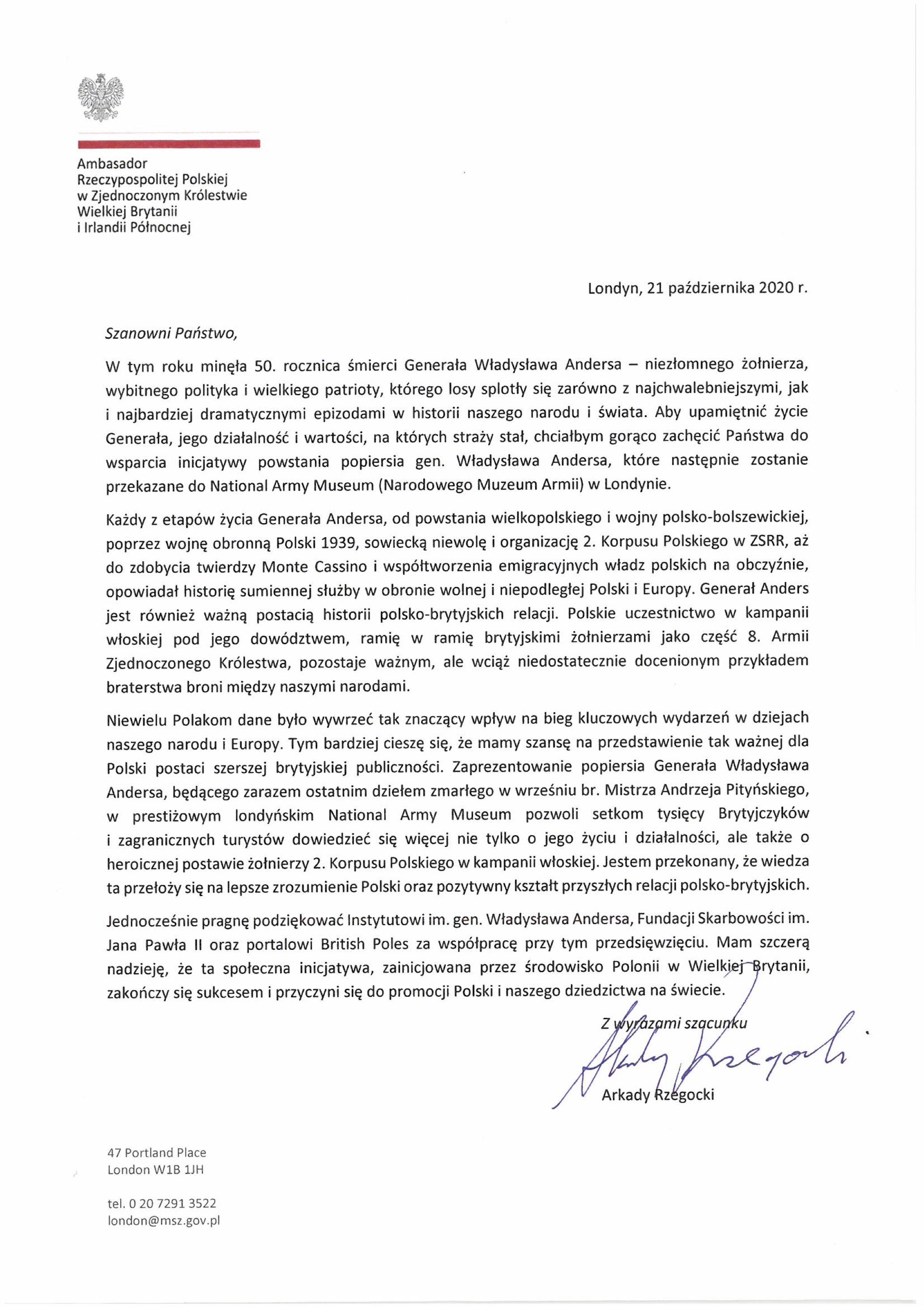List Ambasadora RP w Wielkiej Brytanii i Irlandii Północnej ws. kampanii społecznej POMNIK ANDERSA!
